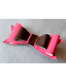Pretty Ponytails Leather Double Bow Chocolate And Strawberry Clip - Pink & Brown