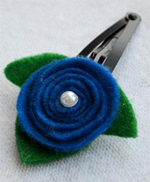 Pretty Ponytails Rose Flower With Pearl Leaf - Dark Blue, White & Green