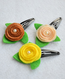 Pretty Ponytails Rose Flower With Pearl Leaf - Beige Yellow & Light Brown