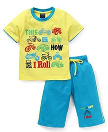 Taeko Half Sleeves T-Shirt And Bermuda Shorts Vehicle & Text Print - Lemon Green Sky Blue