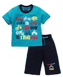 Taeko Half Sleeves T-Shirt And Bermuda Shorts Vehicle & Text Print - Blue Navy Blue