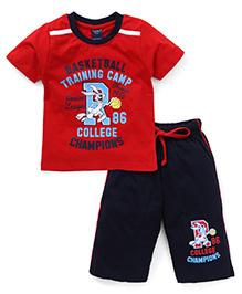 Taeko Half Sleeves T-Shirt And Bermuda Shorts College Champions Print - Red Navy Blue