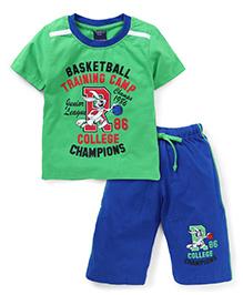 Taeko Half Sleeves T-Shirt And Bermuda Shorts College Champions Print - Green Royal Blue