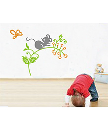 Syga Mouse On The Branch Wall Sticker - Multicolor