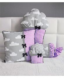 Stybuzz Cupcake Cushion Set Pack Of 4 - Purple Grey