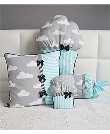 Stybuzz Cupcake Cushion Set Pack Of 4 - Blue Grey