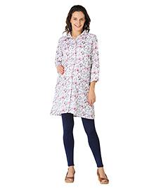 Morph Three Fourth Sleeves Maternity Shirt Dress Floral Print - White