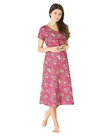 Morph Short Sleeves Maternity Nighty Floral Print - Pink