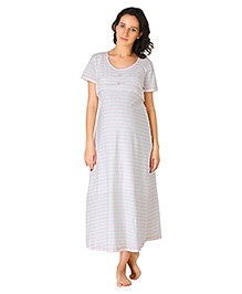 Morph Short Sleeves Maternity Nighty Floral Print - Off White