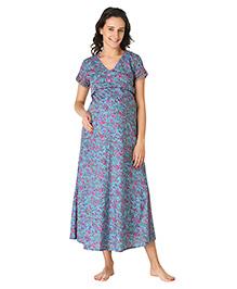 Morph Short Sleeves Maternity Nighty Floral Print - Blue