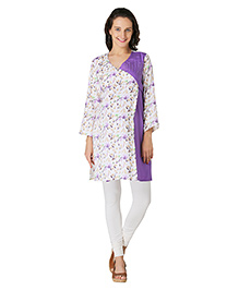 Morph Full Sleeves Maternity Kurti Floral Print - White Purple