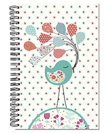 A5 Size Spiral Note Book Bird With Balloon Theme - Multi Color