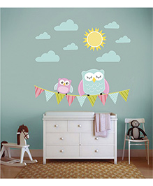 Little Jamun Owl Wall Sticker Blue - Large Size