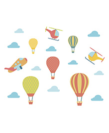 Little Jamun Hot Air Balloon Wall Sticker Multi Color - Large Size