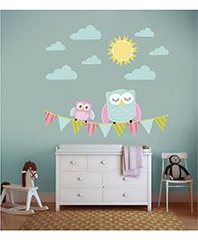 Little Jamun Owl Wall Sticker Blue - Medium Size