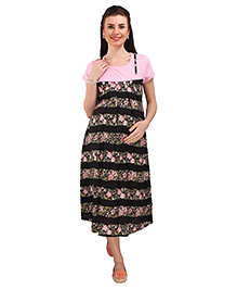 MomToBe Short Sleeves Maternity Dress Floral Print - Black Light Pink
