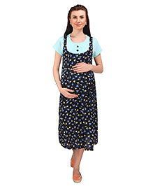 MomToBe Short Sleeves Maternity Dress Floral Print - Navy Sea Green