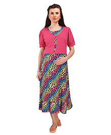 MomToBe Half Sleeves Maternity Dress With Attached Shrug Floral Print - Pink Black