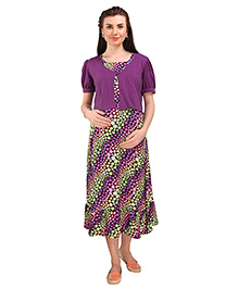 MomToBe Half Sleeves Maternity Dress With Attached Shrug Floral Print - Purple Black