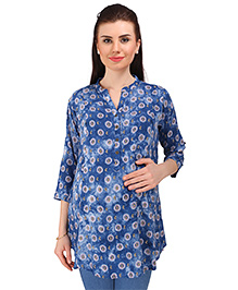 MomToBe Three Fourth Sleeves Maternity Kurti Bow Print - Blue