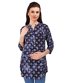 MomToBe Three Fourth Sleeves Maternity Kurti Bow Print - Dark  Blue