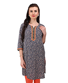 MomToBe Three Fourth Sleeves Maternity Kurti Floral Print - Blue Orange