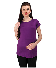 MomToBe Short Sleeves Maternity Solid Top - Purple