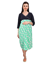 MomToBe Three Fourth Sleeves Maternity Dress Floral Print - Blue & Green