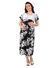 MomToBe Short Sleeves Floral Maternity Dress - Black