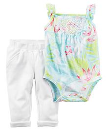 Carter's 2 Piece Bodysuit & Pant Set - Light Blue & White