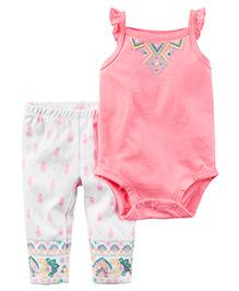 Carter's 2 Piece Neon Bodysuit & Pant Set - Pink & White