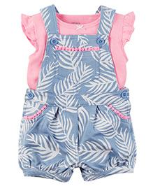 Carter's 2 Piece Neon Top & Shortalls Set - Pink & Blue