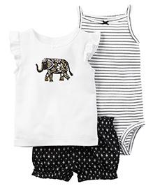 Carter's 3-Piece Babysoft Bodysuit & Short Set - White And Black
