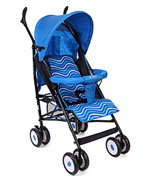 Lightweight Baby Stroller With Zigzag Line And Fish Print - Blue