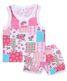 Toffyhouse Sleeveless Printed Tee And Shorts - Pink