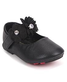 Bash Party Wear Bellies Floral & Rhinestone Embellishment - Black
