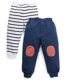 GJ Baby Lounge Pants Striped And Solid Color - White & Blue