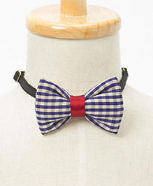 Brown Bows Checkered Bow - Navy & Beige