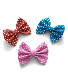 Knotty Ribbons Polka Dots Bow Alligator Clips - Red, Pink & Blue