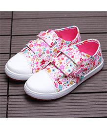 Wonderland Flower Printed Doll Applique Canvas Shoes - Pink