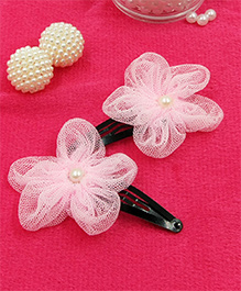 Magic Needles Fancy Triangular Tic Tac Hair Clips With Net Flower - Baby Pink