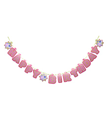 Peppa Pig Happy Birthday Banner - Pink