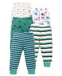 Kidi Wav Basket Ball Printed Pajamas Pack Of 5 - Green