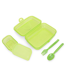 Pratap Happy Bite Lunch Box With Spoon And Fork - Light Green