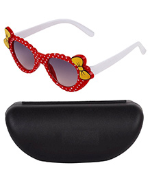 Kidofash Bow Applique Sunglasses With Case - White & Red