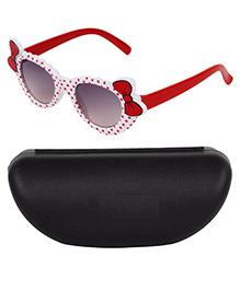 Kidofash Bow Applique Sunglasses With Case - White & Dark Red