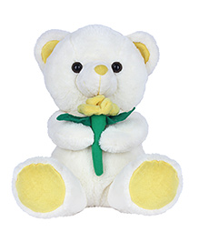 Ultra Teddy White With Yellow Flower - 33 Cm