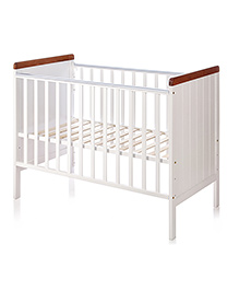 BabyCenter India Howard 500A COT( White And Wooden Color ) ( Made In Malaysia )