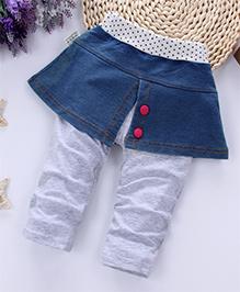 Pre Order - Awabox Denim Skirt Frilled Leggings - Grey