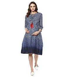 Mine4Nine Three Fourth Sleeves Maternity Dress Floral Print - Dark Blue